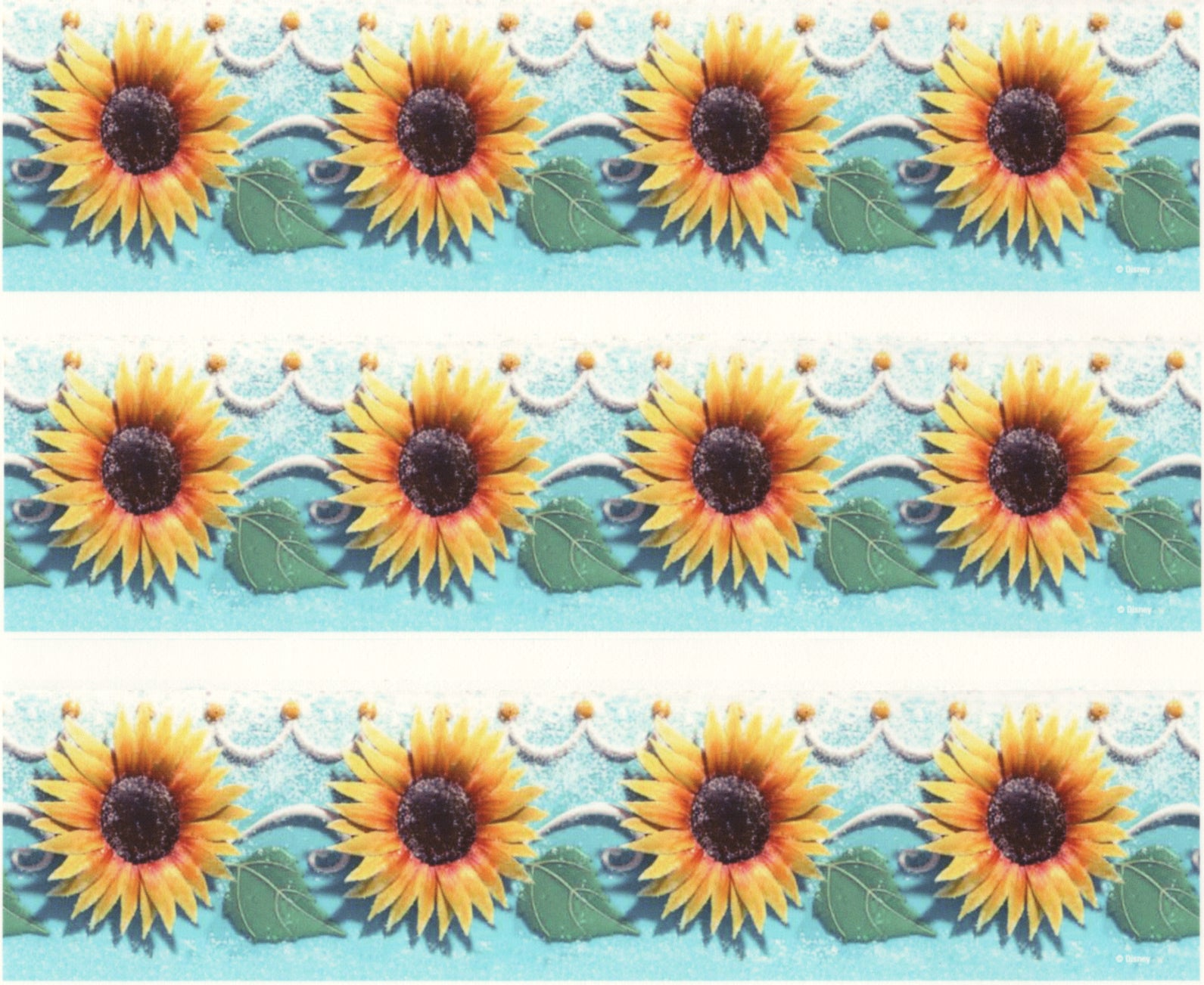 Yellow Sunflowers Green Leaves Edible Cake Topper Image Strips ABPID03798