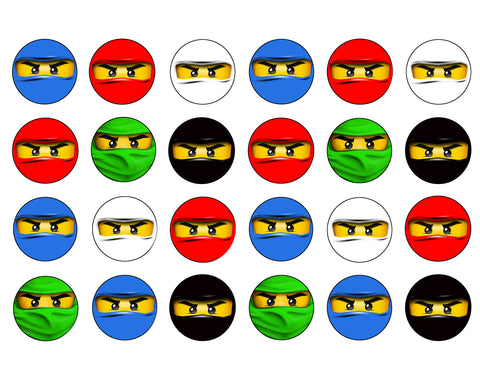 LEGO Ninjago Ninja Masks Faces Edible Cupcake Topper Images ABPID04531
