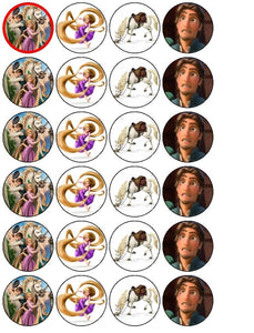 Disney Tangled Rapunzel Flynn Rider Maximus Edible Cupcake Topper Images ABPID04620