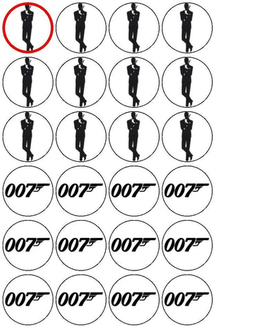 James Bond 007 Gun Logo Edible Cupcake Topper Images ABPID04684