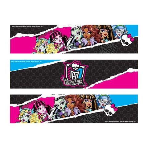 Monster High Logo Clawdeen Draculaura Cleo Frankie Stein Group Edible Cake Topper Image Strips ABPID04707