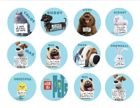 The Secret Life of Pets Chloe Buddy Duke Gidget Max Mel Pops Snowball Sweetpea Mel Edible Cupcake Topper Images ABPID04827