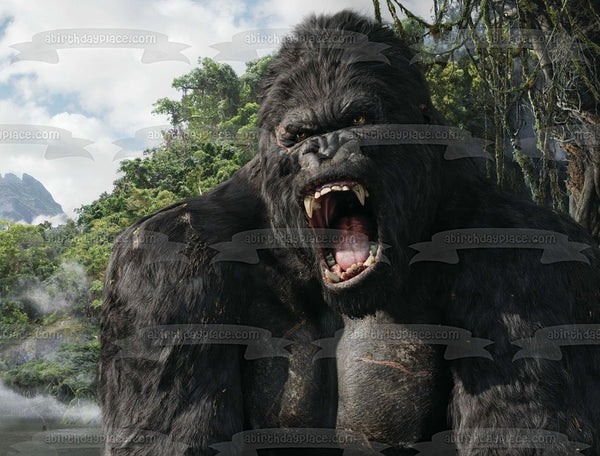 King Kong Giant Movie Monster Jungle Background Edible Cake Topper Image ABPID04875