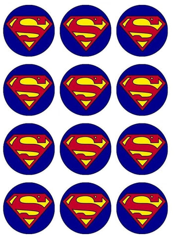 DC Comics Superman Logo Blue Background Edible Cupcake Topper Images ABPID04987