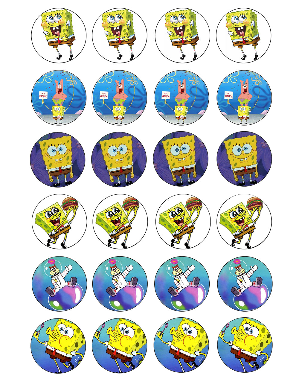 Spongebob Squarepants Crabby Patty Patrick Sandy Edible Cupcake Topper Images ABPID05148