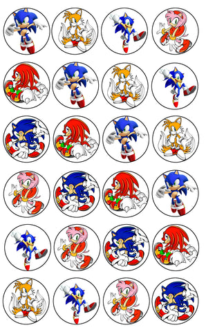 Sonic the Hedgehog Doctor Tails Amy Rose Knuckles the Echidna Shadow Edible Cupcake Topper Images ABPID05183