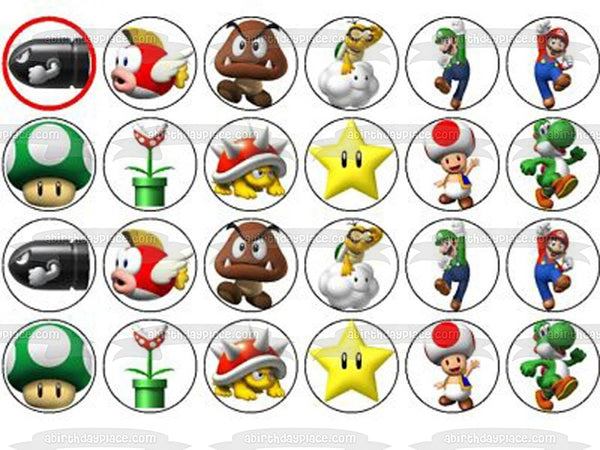 Super Mario Brothers Luigi Yoshi Toad Starman Edible Cupcake Topper Images ABPID05360