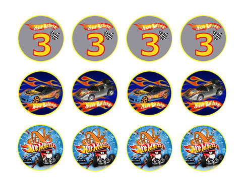 Hot Wheels Happy 3rd Birthday Logo Cars Edible Cupcake Topper Images ABPID05499