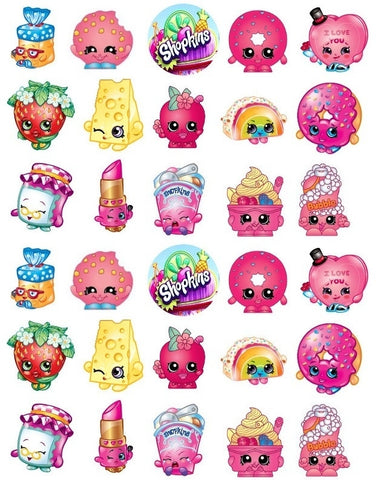 Shopkins Logo Strawberry Kiss Lippy Lips Apple Blossom Edible Cupcake Topper Images ABPID05509