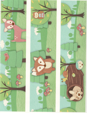 Woodland Baby Animals Deer Owl Fox Bird Edible Cake Topper Image Strips ABPID05529