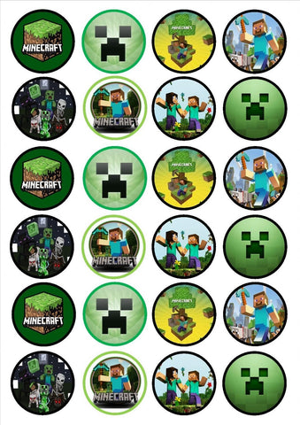 Minecraft Logo Steve Alex Skeleton Edible Cupcake Toppers ABPID05842