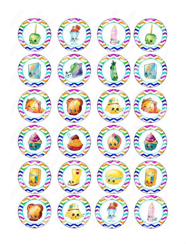 Shopkins Apple Blossom Cupcake Princess Buttercup Rainbow Bite Sweet Pea Edible Cupcake Topper Images ABPID06473