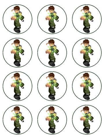 Ben 10 Ben Prime White Background Edible Cupcake Topper Images ABPID06491