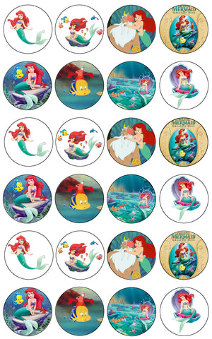 Disney Princess the Little Mermaid Ariel Flounder King Triton Sebastian Edible Cupcake Topper Images ABPID06610