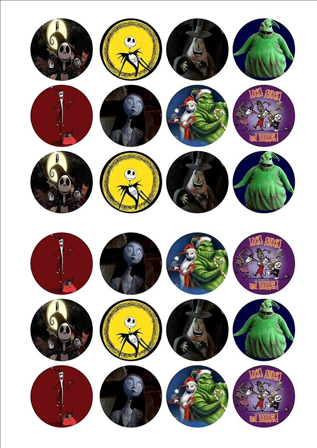 Nightmare Before Christmas Jack Skellington Oogie Boogie Sally Edible Cupcake Topper Images ABPID07178
