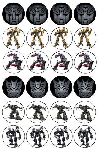 Transformers Logo Bumblebee Optimus Prime Iron Hide Edible Cupcake Topper Images ABPID07310