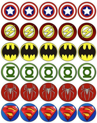 Superhero Logos Captain America the Flash Batman Green Lantern Spider-Man Superman Edible Cupcake Topper Images ABPID07360