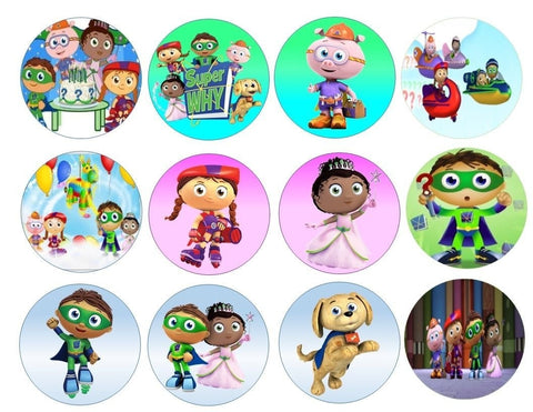 Super Why Happy Birthday Cake Pinata Whyatt Pig Princess Pea Edible Cupcake Topper Images ABPID07671