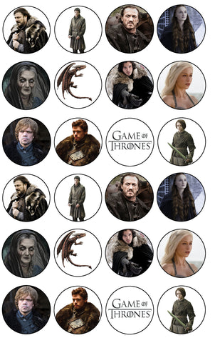 Game Of Thrones Logo Daenerys Targaryen Jon Snow Tyrion Lannister Bronn Edible Cupcake Toppers ABPID07752