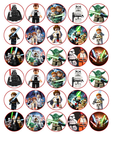 LEGO Star Wars Darth Vader Storm Trooper Yoda Edible Cupcake Topper Images ABPID09033