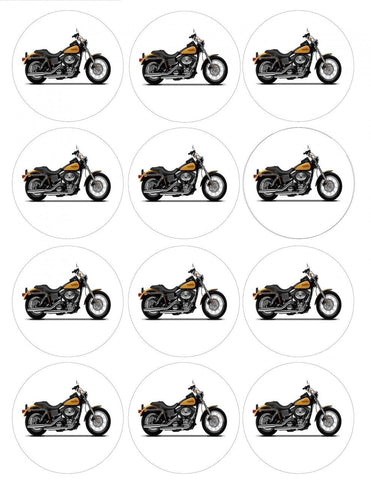 Harley-Davidson Yellow and Black Motor Cycle Edible Cupcake Toppers ABPID09168