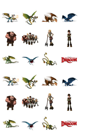 How To Train Your Dragon Toothless Hiccup Astrid Gobber Tuffnut Hookfang Arctic Rumblehorn Night Fury Edible Cupcake Toppers ABPID12155