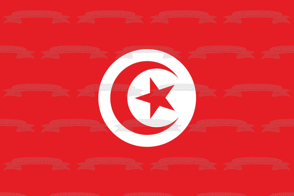 National Flag of Tunisia White Red Crescent Star Edible Cake Topper Image ABPID13076