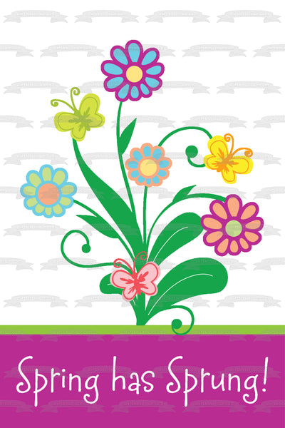Spring Has Sprung Flowers Butterflies Edible Cake Topper Image ABPID13330