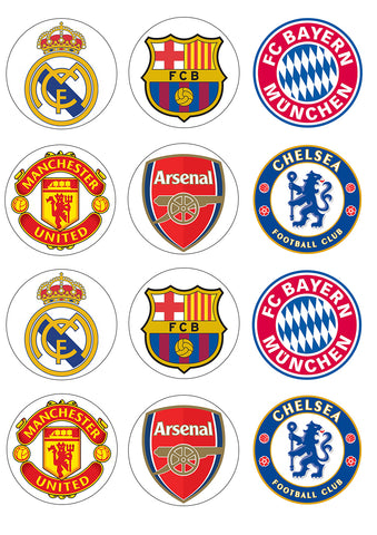 Soccer Club Logos Football Club Barcelona Chelsea Football Club Manchester United Edible Cupcake Topper Images ABPID14779