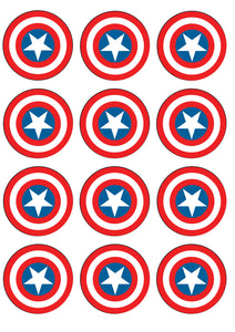 Marvel Captain America Sheilds Edible Cupcake Toppers ABPID14815