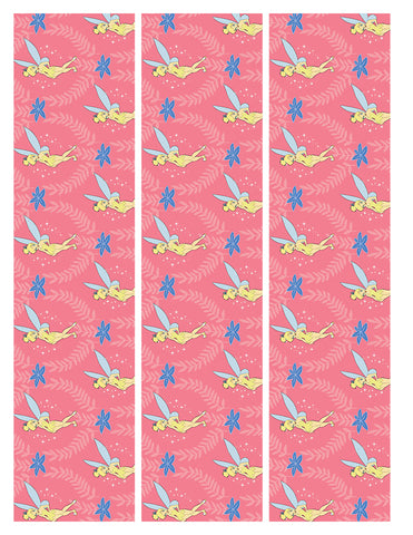 Disney Peter Pan Tinkerbell Blue Flowers Pink Background Edible Cake Topper Image Strips ABPID14861