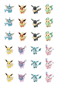 Pokemon Eevee Evolutions Umbreon Vaporeon Flareon Sylveon Glaceon Jolteon Leafeon Edible Cupcake Toppers ABPID15252