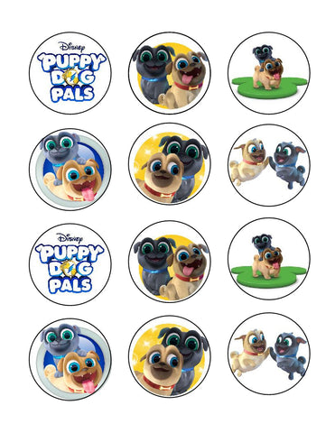 Disney Puppy Dog Pals Logo Bingo Rolly Edible Cupcake Toppers ABPID22155