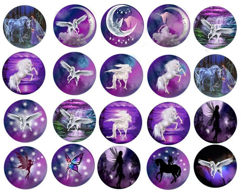 Assorted Unicorns Fairies Fairy Mystic Unicorn Pegasus Horse Purple Background Edible Cupcake Topper Images ABPID24096