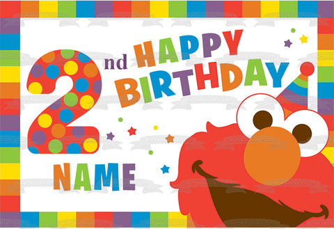 Sesame Street Elmo Happy 2nd Birthday Rainbow Stars Polka Dots Edible Cake Topper Image ABPID27236