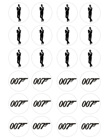 James Bond 007 Silhouette 007 Logo Edible Cupcake Topper Images ABPID28033