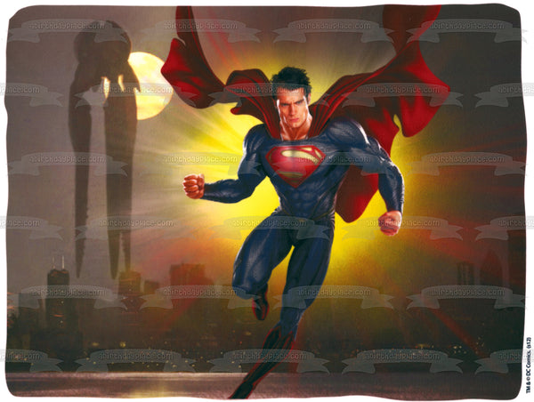 DC Comics Superman Flying Buildings Moonlight Edible Cake Topper Image ABPID49723