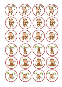 Cartoon Monkeys In Various Positions Edible Cupcake Toppers ABPID49799