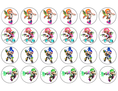 Splatoon Inklings Characters 24 Count Cupcakes Edible Cupcake Topper Images ABPID50409