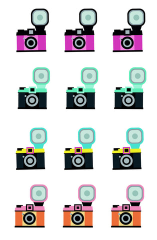 Cute Colorful Vintage Camera 12 Count Cupcake Toppers Edible Cupcake Topper Images ABPID50746