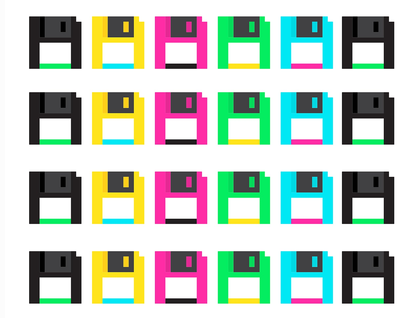 24 Count Colorful Floppy Disk Edible Cake Topper Image Strips ABPID50747