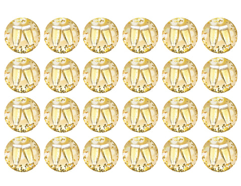Happy New Year Celebration Champagne Flute Gold Bokah 24 Count Edible Cupcake Toppers ABPID50764