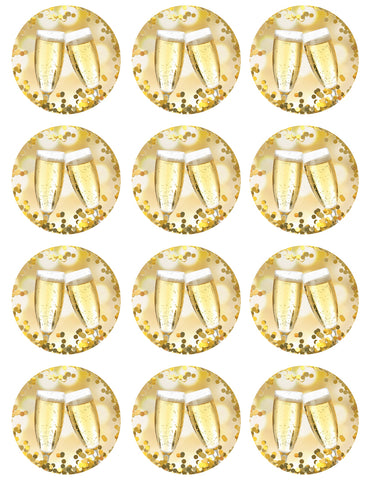 Happy New Year Celebration Champagne Flute Gold Bokah 12 Count Edible Cupcake Toppers ABPID50766
