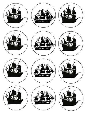 Ships Pirate Seafall Boat Seafaring Cupcake Toppers 12 Count Edible Cupcake Topper Images ABPID50793