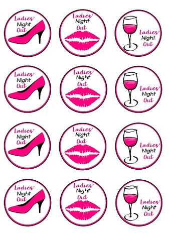 Ladies' Night Out Pink High Heel Shoe Stiletto Kiss Lips Pink Wine Glass Edible Cupcake Toppers ABPID50868