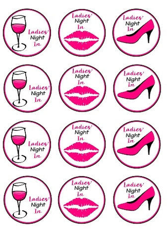 Ladies' Night In Pink High Heel Stiletto Kiss Lips Pink Wine Glass Edible Cupcake Toppers ABPID50869