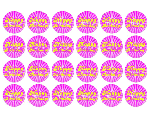 70s Themed Happy Birthday Pink Swirl Background 24ct Edible Cupcake Topper Images ABPID51151