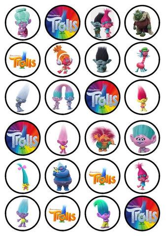 Trolls World Tour Queen Poppy Guy Diamond Branch Biggie Cooper Edible Cupcake Topper Images ABPID51351