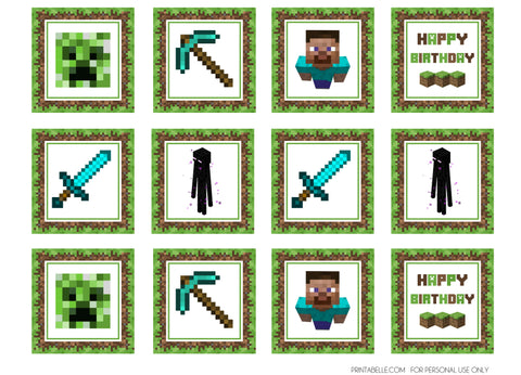 Minecraft Happy Birthday Blue Diamond Steve Blue Diamond Sword Blue Diamond Pick Axe Enderman Creeper Edible Cupcake Toppers ABPID51393