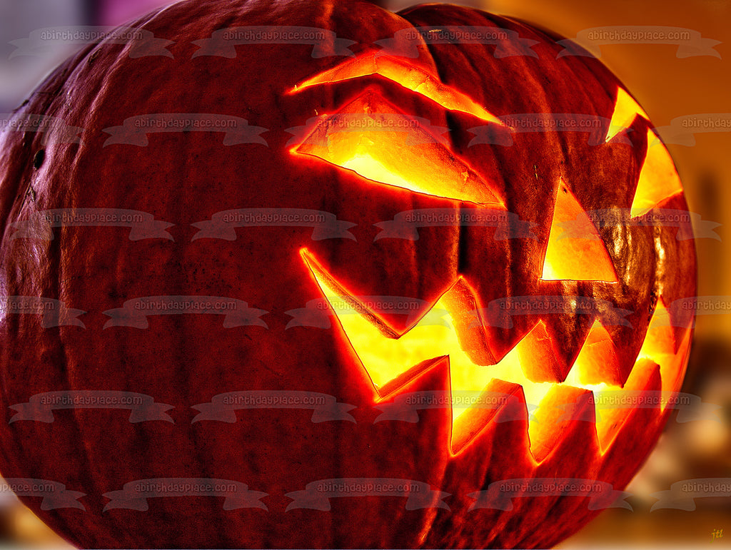 Scary Jack O Lantern Halloween Pumpkin Edible Cake Topper Image Abpid5 A Birthday Place
